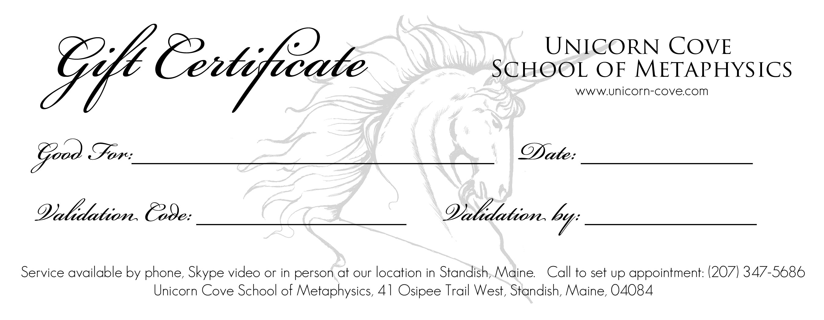 gift certificates unicorn cove school of metaphysics gift certificate